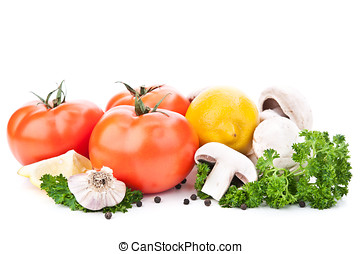 composition with vegetables and spices