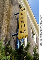 Old museum metal outdoor sign in Dordrecht