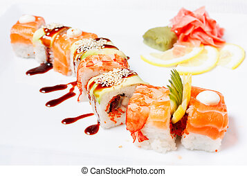 Sushi Roll with salmon, eel, tiger shrimp and tobiko caviar...
