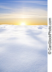 snow field on sunset.Nature composition.