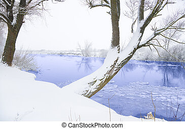 Winter landscape with the river.Nature composition.