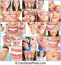 Happy woman smile - Happy people smile Dental collage