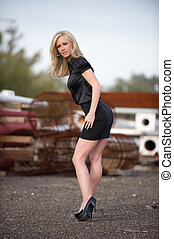 Beautiful leggy blond - Beautiful blond fashion model with...
