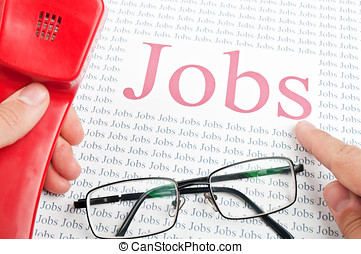 calls to the employer - man looking for a job by telephone