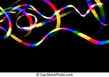 Rainbow Light Trails on Black