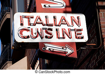 Italian Cuisine Neon Sign - An old neon sign that reads...