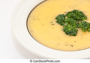 Cheddar Broccoli Soup  - Bowl of cream of broccoli soup