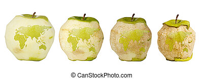 Earth Deterioration - Green apple with a carving of the...