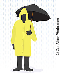 Rain Coat Man - Man standing in raincoat, boots and holding...