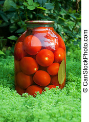 Marinated tomatoes in the pot