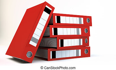 Stack of red File folders over white background
