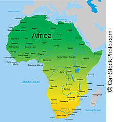 map of african continent - Detailed vector map of african...