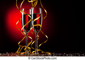 par, vidrio, champaña