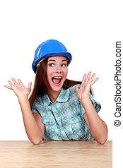 woman wearing helmet screaming of joy