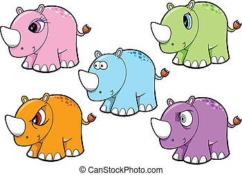 Cute Rhino Safari Animal Vector Set