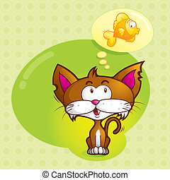 Imagine Cute Cat - a cute cat was imagining his favorite...