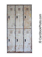 Rusted old cabinet with isolated on white background