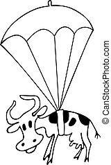 Cow with parachute - Cow flying with parachute on white...