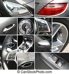 Luxury car details collage background template