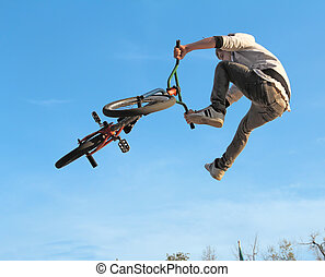 BMX cycling teenager