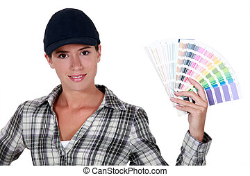 Girl showing a swatches