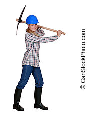 female bricklayer holding pickaxe