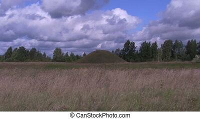 tumulus - an ancient burial mound, Russia, Novgorod region