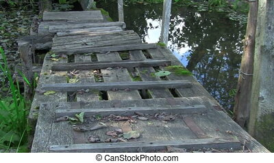 footbridge - wooden bridge over a forest stream