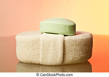 Spa Time - Soap and sponge close up