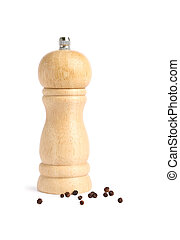 pepper pot - Wooden pepper pot on white background