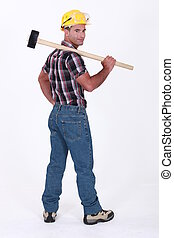 Landscape picture of worker with shoulder harness