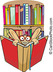 bookworm and library - Learning is the key to knowledge -...