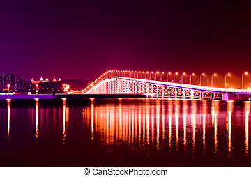 Bridge at night - The bridge across the island at night on...