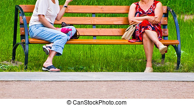 old age - old women on bench