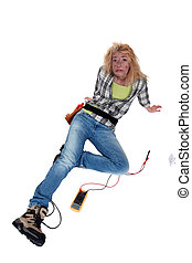 Handywoman who took an electrical shock