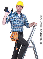 craftsman climbing on a ladder and holding a drill