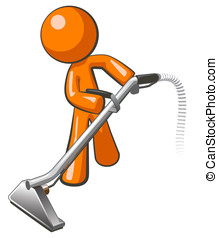 Orange Man with Steam Cleaner Carpet Wand - Orange man with...