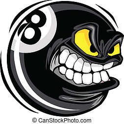 Billiards Eight Ball Angry Face - Cartoon Face on a...