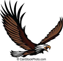 águia, mascote, voando, asas