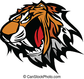 Tiger Mascot Vector Graphic - Tiger Head Graphic Team Mascot...
