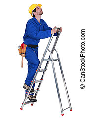 Worker on a stepladder