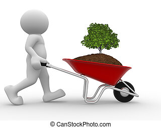 Wheelbarrow - 3d people - human character, person and earth...