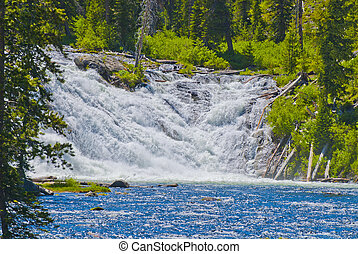 Lewis Falls - Waterfall located on Lewis River in...