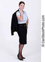 Llevando, mujer de negocios, falda, Traje