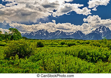 Grand Tetons Mountains Landscape - Dramatic Clouds over...