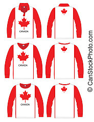 Long-sleeved sport shirt. Canada national team. vector...