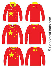 Long-sleeved sport shirt. China national team. vector...