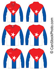 Long-sleeved sport shirt. Cuba national team. vector...