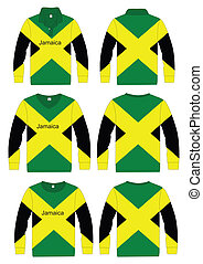 Shirt Long-sleeved jamaica Flag - Long-sleeved sport shirt...
