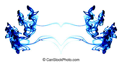 Blue ink moving in water - Mirror image of blue ink flowing...